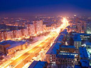 Екатеринбург космический. Проспект Космонавтов ночью