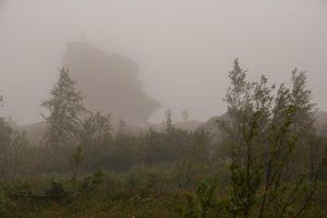 Перевал Дятлова. Останец, когда через Перевал идут облака с севера